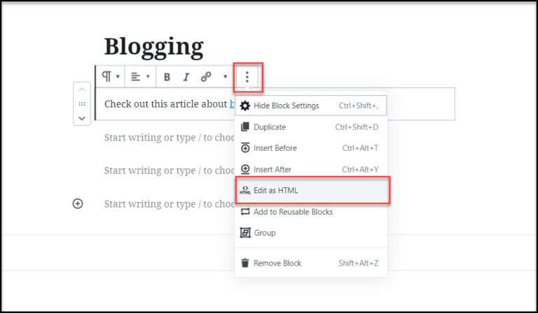 Gutenberg Manual Add Nofollow Links