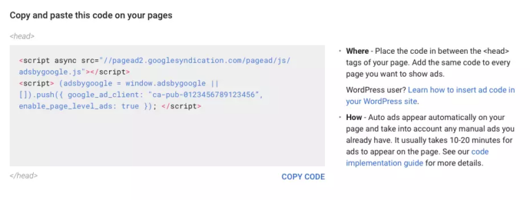 An example of the AdSense auto-ads code.
