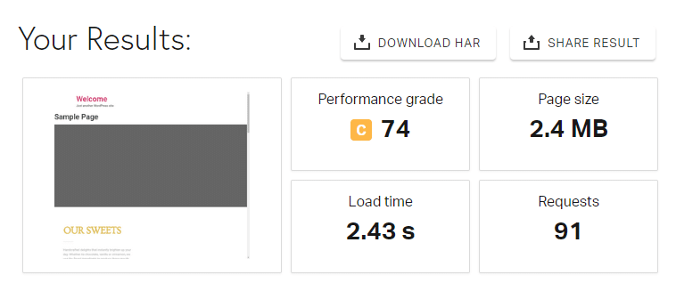 BlueHost's Pingdom speed test results.