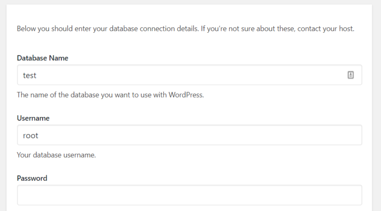 Entering our database credentials.