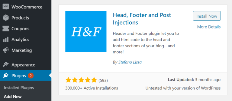 The Head, Footer and Post Injections plugin
