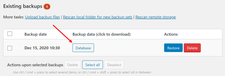 Restore from backup files