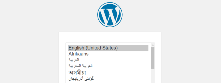 Selecting the language for the WordPress installer.