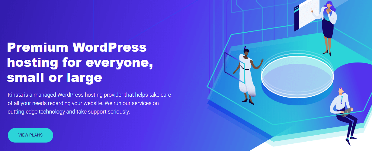 The Kinsta homepage.