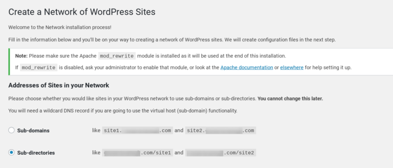 The Network Setup page in WordPress Multisite.