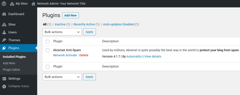 The WordPress Multisite admin plugins page.