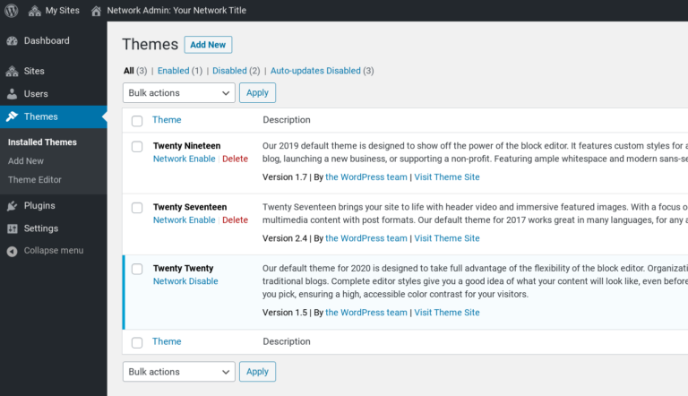 The WordPress Multisite themes page.