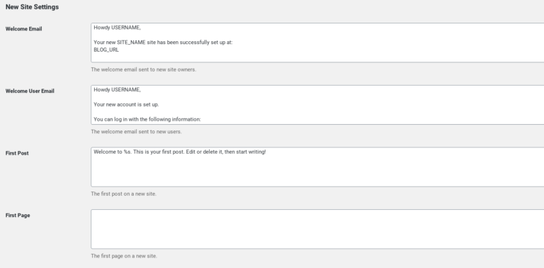 The new site settings in WordPress Multisite.