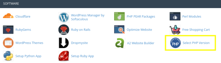 The 'Select PHP Version' application in cPanel.