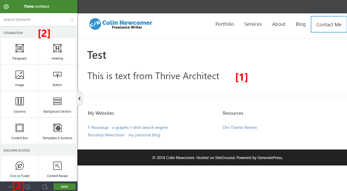 Thrive Architect interface