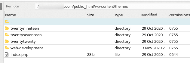 The WordPress themes folder in FTP client.
